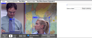 Simple user interface with a video player on the left half displaying a scene from The Office with blue bounding boxes overlaid over the characters Dwight and Angela